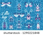 vector set of insects and bugs. ... | Shutterstock .eps vector #1290221848
