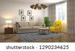 interior of the living room. 3d ... | Shutterstock . vector #1290234625
