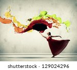 ballet dancer in flying satin... | Shutterstock . vector #129024296