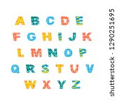 colorful english alphabet with... | Shutterstock .eps vector #1290251695