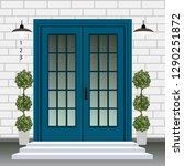 house door front with doorstep... | Shutterstock .eps vector #1290251872