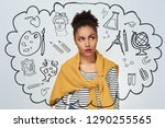 art or science. young woman... | Shutterstock . vector #1290255565
