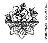 rose tattoo  mystic symbol.... | Shutterstock .eps vector #1290256168