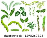 set of jungle plants. tropical... | Shutterstock .eps vector #1290267925