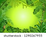background with jungle plants.... | Shutterstock .eps vector #1290267955
