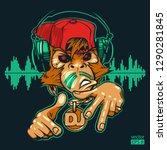 monkey dj. monkey rapper. hand... | Shutterstock .eps vector #1290281845