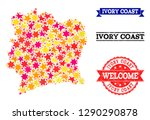 mosaic map of ivory coast...   Shutterstock .eps vector #1290290878
