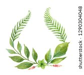 watercolor wreath with green... | Shutterstock . vector #1290304048