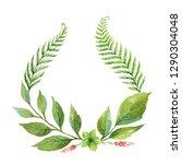 watercolor wreath with green... | Shutterstock . vector #1290304048