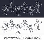 hand drawing happy kids. vector ... | Shutterstock .eps vector #1290314692