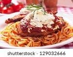 viener schnitzel  breaded steak ... | Shutterstock . vector #129032666