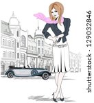 beautiful fashion woman with a...   Shutterstock .eps vector #129032846