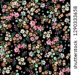 flowers pattern black | Shutterstock . vector #1290333658