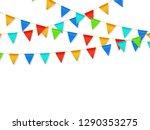 pennant flag garland. birthday... | Shutterstock .eps vector #1290353275