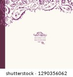 hand drawn purple oriental... | Shutterstock .eps vector #1290356062