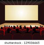people watching movie at cinema ... | Shutterstock .eps vector #129036665
