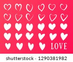 drawing of hearts. hearts with... | Shutterstock .eps vector #1290381982
