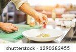 star chef prepare fish tartare...   Shutterstock . vector #1290383455