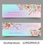 spring floral banners. abstract ... | Shutterstock .eps vector #1290390415