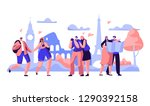 people group travel take photo... | Shutterstock .eps vector #1290392158