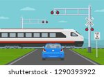 car stops at railroad crossing... | Shutterstock .eps vector #1290393922
