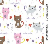pattern with cute cats and... | Shutterstock .eps vector #1290398605