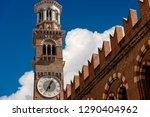 Medieval Lamberti Tower (Torre dei Lamberti - XI century - 84 m.) in Verona, UNESCO world heritage site. Veneto, Italy