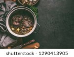 slow cooked stewed meat in cast ... | Shutterstock . vector #1290413905
