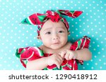 cut baby with pretty wear lying ... | Shutterstock . vector #1290418912