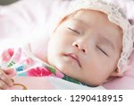 cut baby with pretty wear lying ... | Shutterstock . vector #1290418915