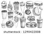 fastfood illustrations... | Shutterstock .eps vector #1290422008