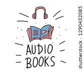 audiobooks concept in doodle... | Shutterstock .eps vector #1290432085