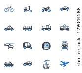 transportation icons   blue... | Shutterstock .eps vector #129044588