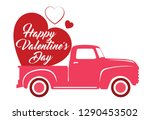 valentine's red truck with...   Shutterstock .eps vector #1290453502