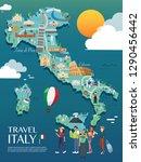 map of italy attractions vector ... | Shutterstock .eps vector #1290456442