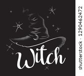 pointy witch hat with crescent... | Shutterstock .eps vector #1290462472