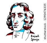 baruch spinoza engraved vector... | Shutterstock .eps vector #1290476335