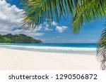 paradise beach background.... | Shutterstock . vector #1290506872