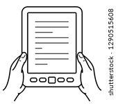 two hands holding ebook reader. ... | Shutterstock .eps vector #1290515608
