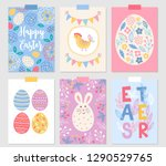 easter greeting cards with... | Shutterstock .eps vector #1290529765