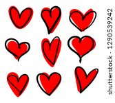 vector set of hand drawn hearts ... | Shutterstock .eps vector #1290539242