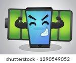 powerful mobile phone cartoon... | Shutterstock .eps vector #1290549052