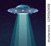ufo with light at night | Shutterstock .eps vector #1290563458