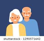 portrait of cute happy elderly... | Shutterstock .eps vector #1290571642