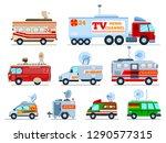 broadcast car vector tv vehicle ... | Shutterstock .eps vector #1290577315