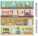 flat rooms and objects vector... | Shutterstock .eps vector #1290589348