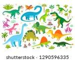 cute flat dinosaur set.... | Shutterstock .eps vector #1290596335