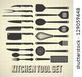 vector set  kitchen utensils set | Shutterstock .eps vector #129059648