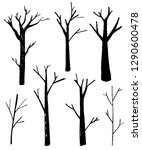 naked trees silhouettes set.... | Shutterstock .eps vector #1290600478