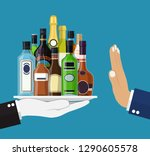 alcohol abuse concept. hand... | Shutterstock .eps vector #1290605578